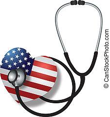 hjärtslag, flagga, stetoskop, lyssnande, usa