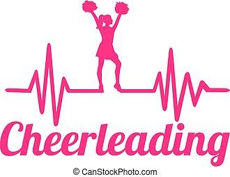 hjärtslag, fodra, cheerleading