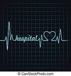 hjärtslag, sjukhus, text, göra
