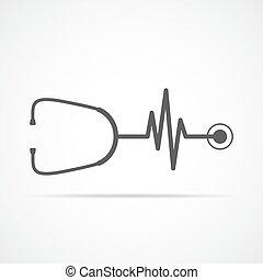 hjärtslag, skylt., vektor, stetoskop, illustration