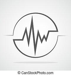 hjärtslag, vektor, illustration., ikon, circle.
