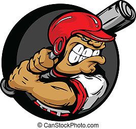 hjælm, flagermus, skrap, spiller, baseball, holde