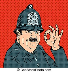 hjælm, godke, betjenten, jævn, engelsk, gestus, show