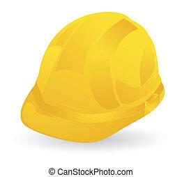 hjælm, konstruktion, gul