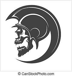 hjælm, spartan, kranium, silhouette.