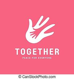 hjælp, fastgøre, hånd, hjælper, facon, voksen, logo, ikon, børn, almissen