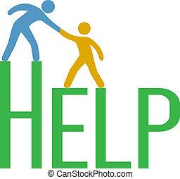 hjælp, folk, understøttelse, oppe, foranstaltning, svar,...