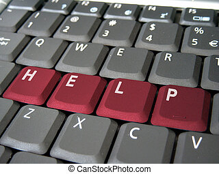 hjælp, på, en, klaviatur