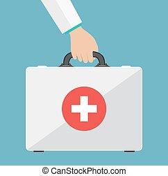 hjælpemiddel, først, udstyr, hands., doktorer