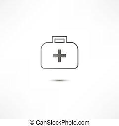 hjælpemiddel, ikon, først, udstyr