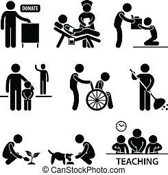 hjælper, donation, almissen, frivillig