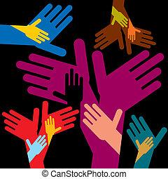 hjælper, farverig, hænder