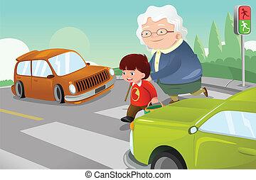 hjælper, gade, krydsning, senior, dame, barnet
