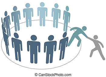hjælper, hjælper, kammerat, sammenvokse, gruppe folk,...