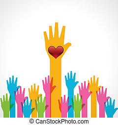 hjælper, hjerte, baggrund, hånd