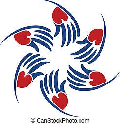 hjælper, hjerte, vektor, logo, hænder