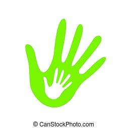 hjælper, illustration, hånd