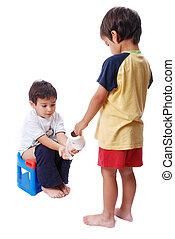 hjælper, lavatory, barnet, en anden, æn