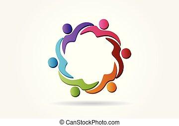 hjælper, logo, hold, vektor, folk