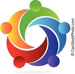 hjælper, logo, teamwork, folk