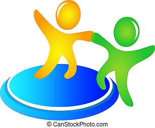 hjælper, logo, vektor, teamwork