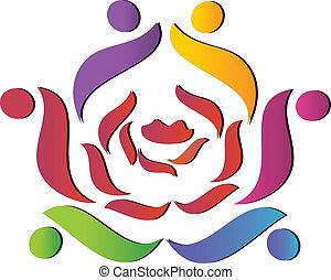 hjælper, rose, hold, logo