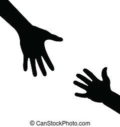 hjælper, silhuet, hånd