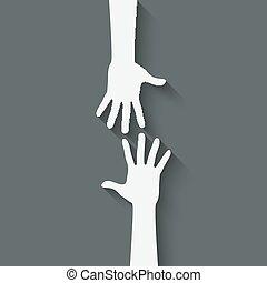 hjælper, symbol, hånd