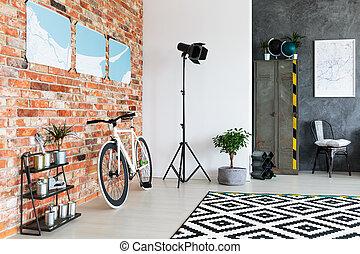 hjørne, lampe, studio