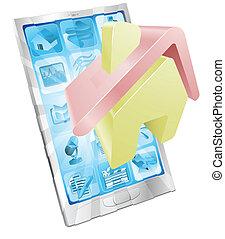 hjem, app, begreb, ikon, telefon