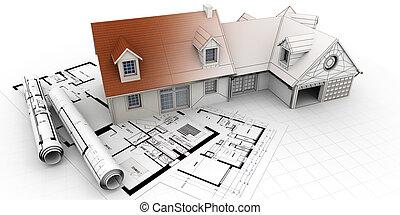 hjem, arkitektur, projekt, fuldbyrdelse