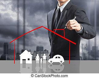 hjem, begreb, forsikring