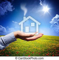 hjem, begreb, ind, din, hånd, -, scene