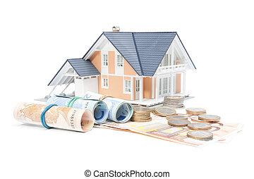 hjem finaner, -, hus, og, penge