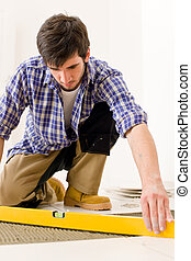 hjem, flise, forbedring, -, handyman, hos, niveau