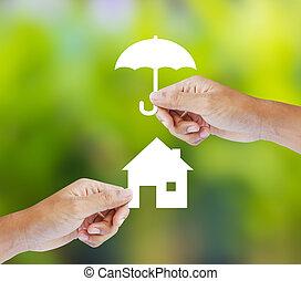 hjem, forsikring, begreb