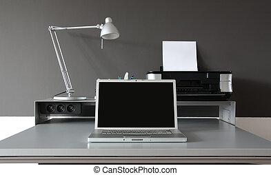 hjem, frontal, skrivebord kontor