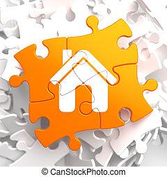 hjem, ikon, på, appelsin, puzzle.
