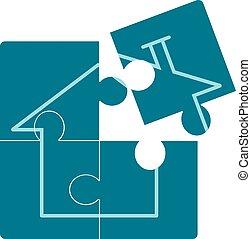 hjem, ikon, på, blå, puzzle.