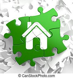 hjem, ikon, på, grønne, puzzle.