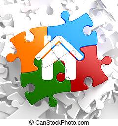 hjem, ikon, på, multicolor, puzzle.