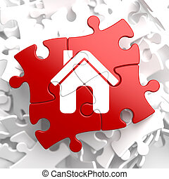 hjem, ikon, på, rød, puzzle.
