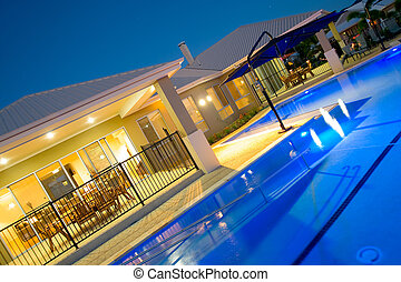 hjem, luksus, pulje, svømning