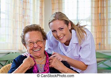 hjem omsorg, i, den, gammel dame
