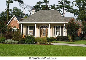 hjem, plæne, dejlige, landscaped
