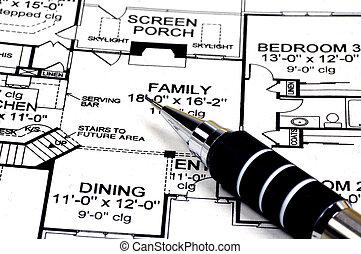 hjem, planer, og, blyant
