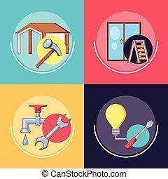 hjem reparer, hos, redskaberne, sæt, iconerne