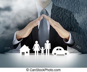 hjem, sundhed, automobilen, forsikring, begreb, hos, forretningsmand