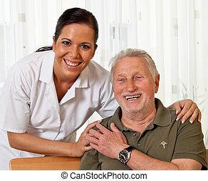 hjem, sygepleje, gammelagtig, sygeplejerske, ældes, omsorg