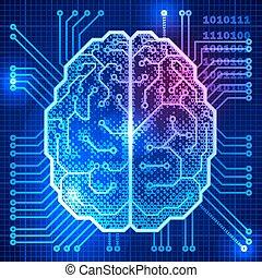 hjerne, cyber